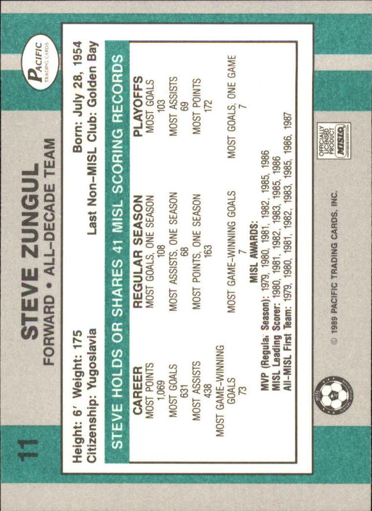 1989 Pacific MISL #11 Steve Zungul back image