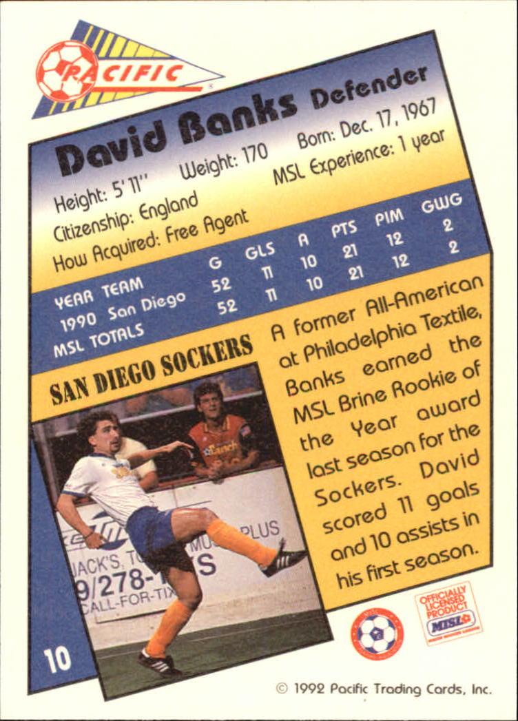 1992 Pacific MSL #10 David Banks back image