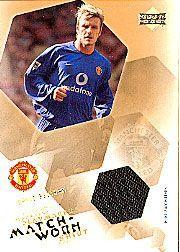 2003 Upper Deck Manchester United Mini Playmakers Match Worn Shirts #2 David Beckham/99