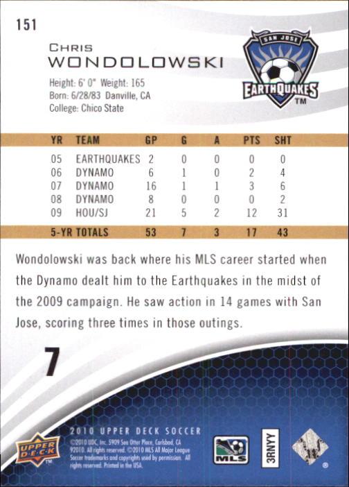 2010 Upper Deck MLS #151 Chris Wondolowski back image