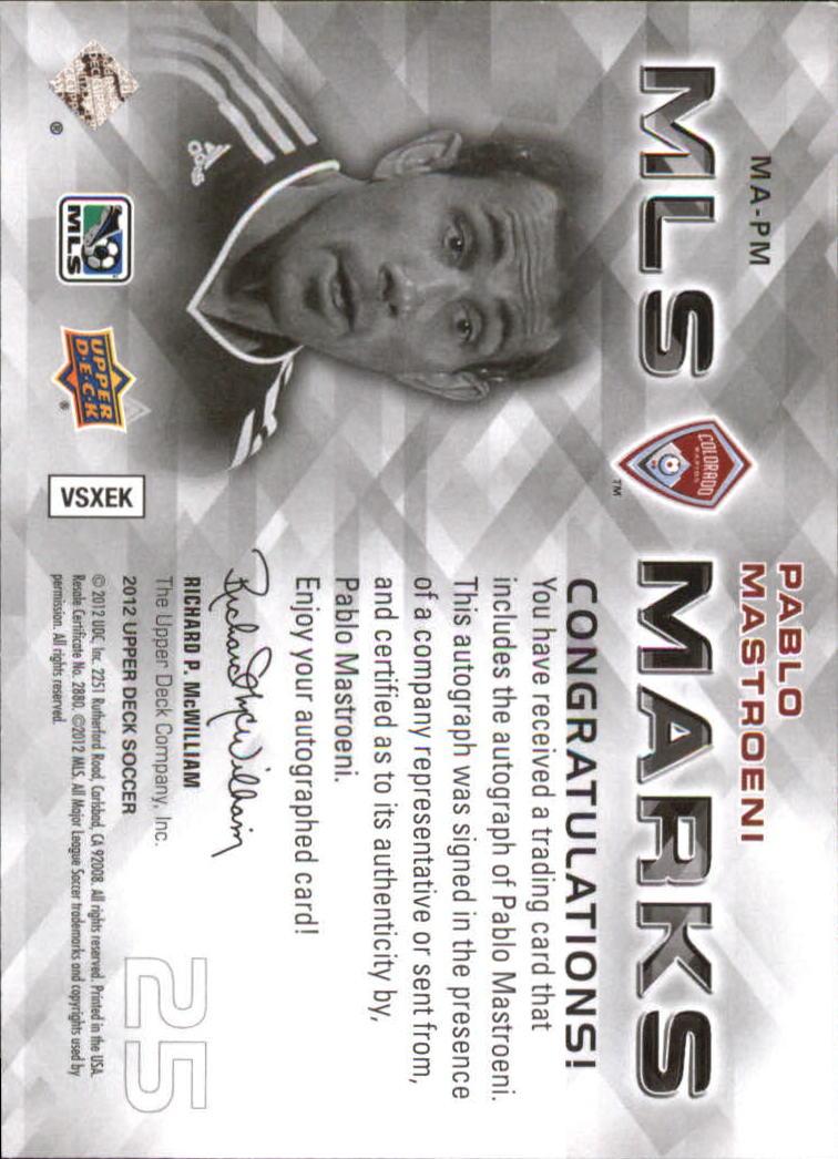 2012 Upper Deck MLS Marks #PM Pablo Mastroeni back image