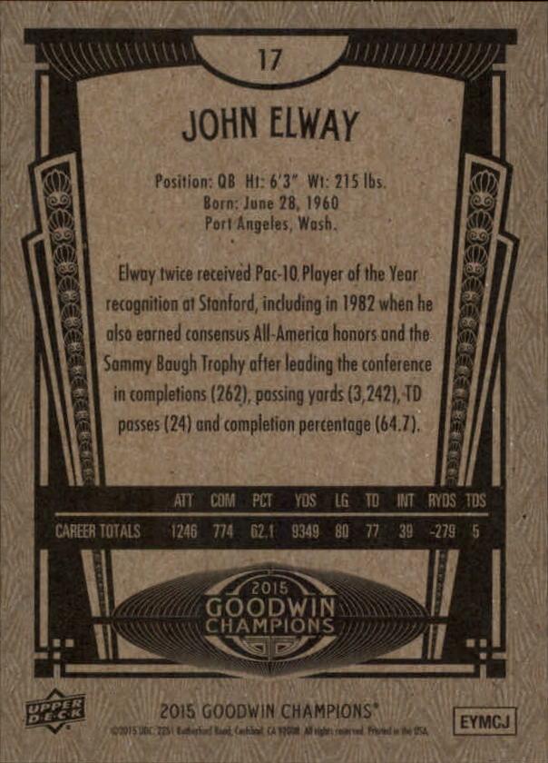 2015 Upper Deck Goodwin Champions #17 John Elway back image