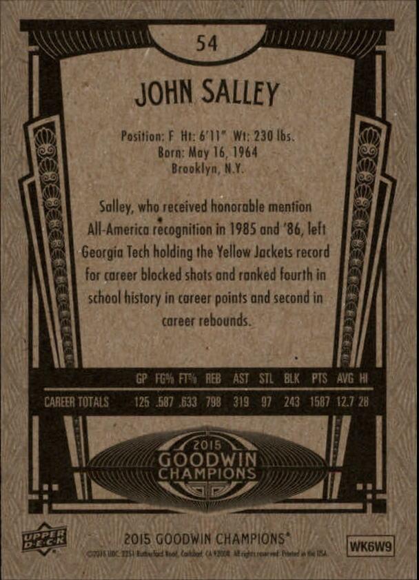 2015 Upper Deck Goodwin Champions #54 John Salley back image