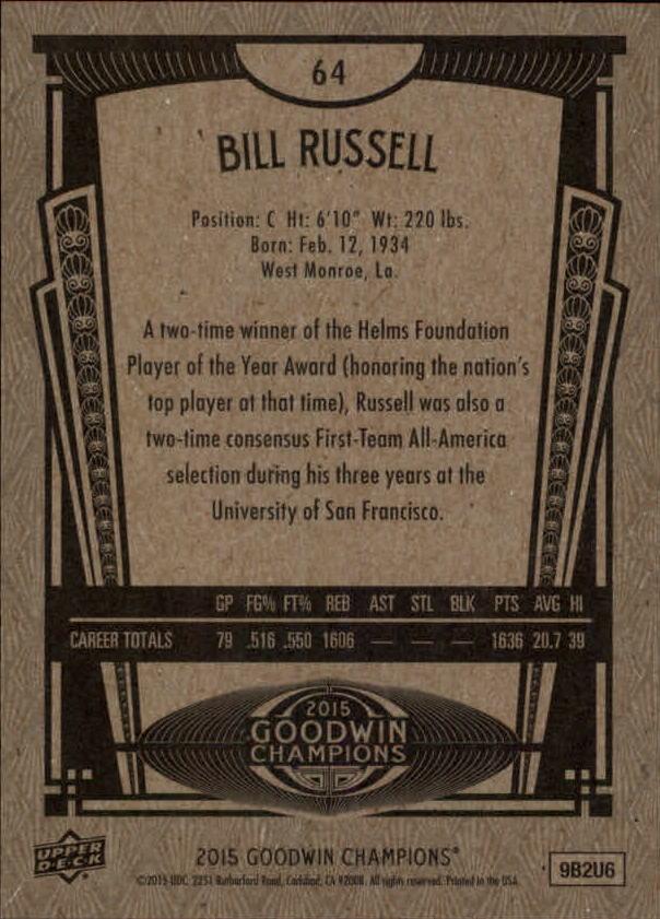 2015 Upper Deck Goodwin Champions #64 Bill Russell back image