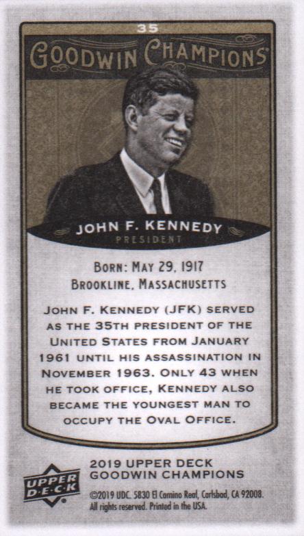 2019 Upper Deck Goodwin Champions Mini #35 John F. Kennedy back image