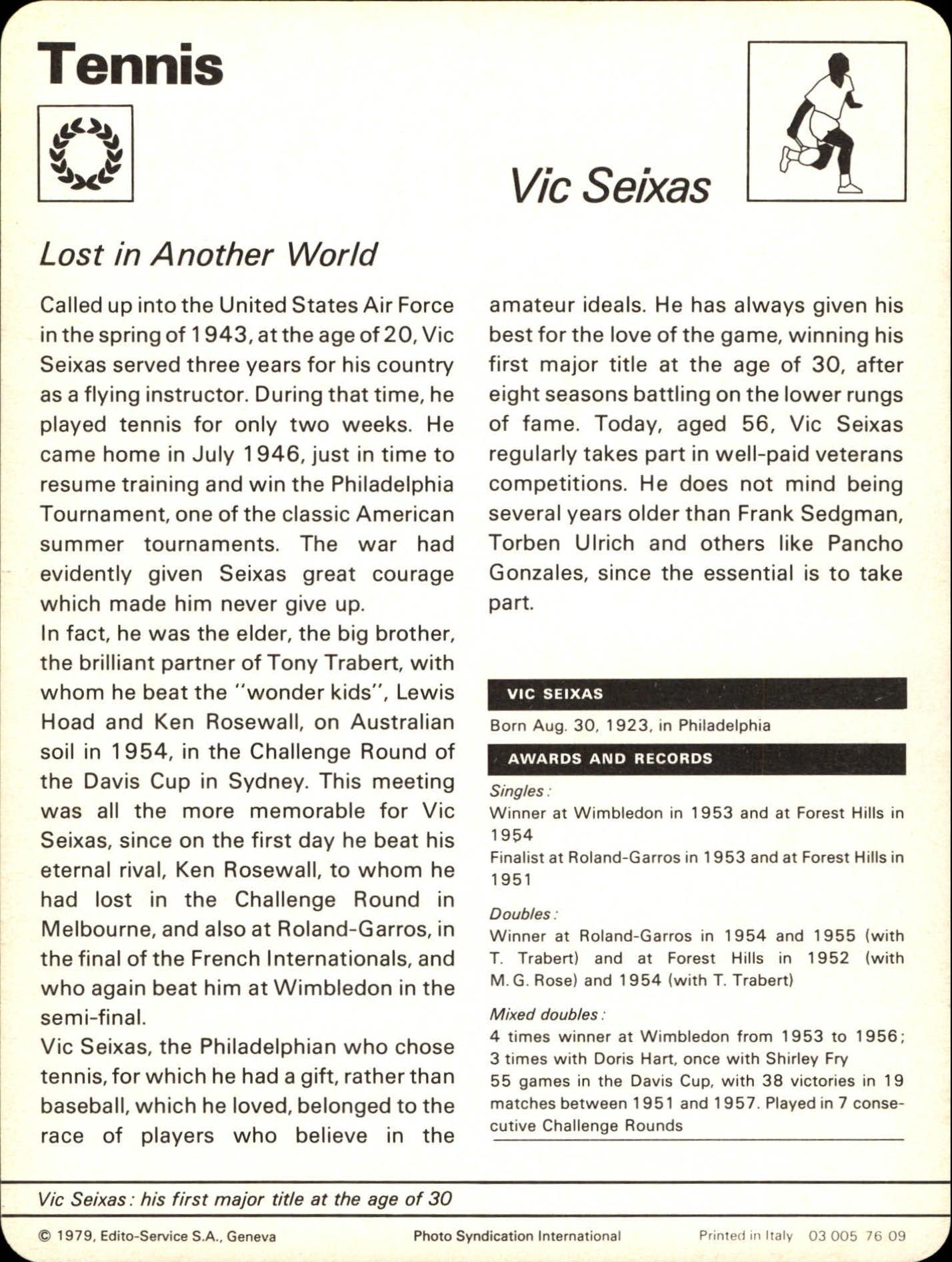 1977 79 Sportscaster Series 76 7609 Vic Seixas Oversized NM MT