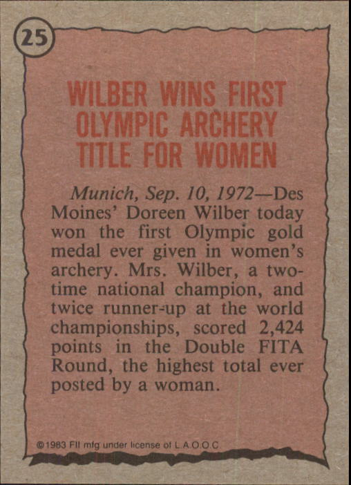 1983 Topps History's Greatest Olympians #25 Doreen Wilber back image