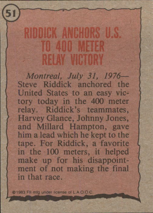 1983 Topps History's Greatest Olympians #51 Steve Riddick back image