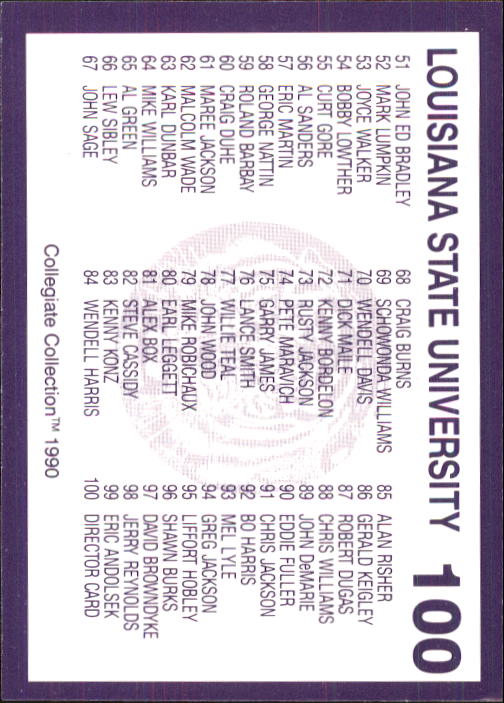 1990 LSU Collegiate Collection #100 Checklist Card 1-99 back image