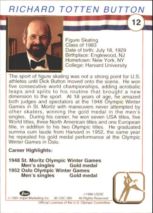 1991 Impel U.S. Olympic Hall of Fame #12 Dick Button back image