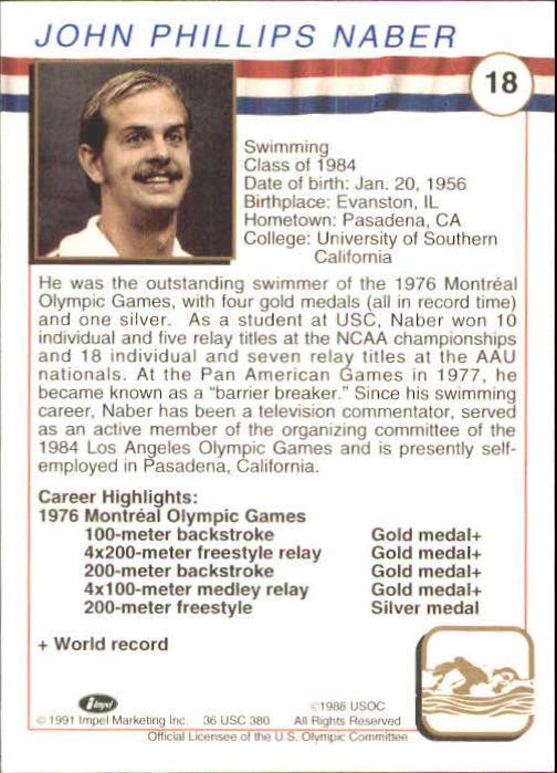 1991 Impel U.S. Olympic Hall of Fame #18 John Naber back image
