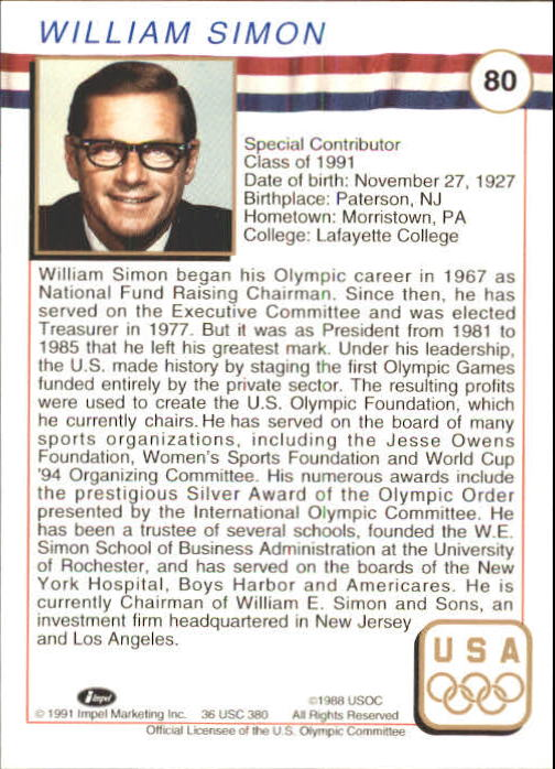 1991 Impel U.S. Olympic Hall of Fame #80 William Simon back image