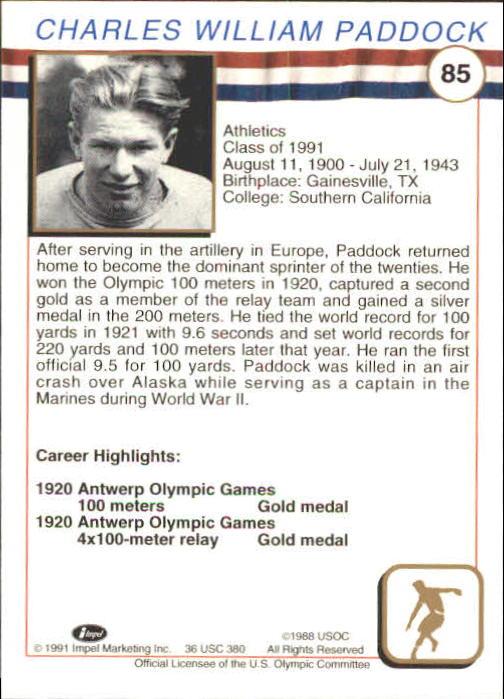 1991 Impel U.S. Olympic Hall of Fame #85 Charles Paddock back image