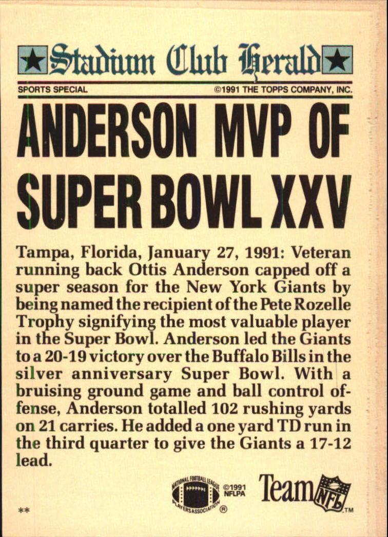 1991 Stadium Club Charter Member #33 Ottis Anderson/Anderson& MVP of/Super Bowl XXV back image