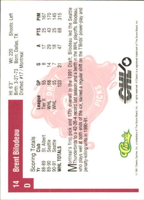 1991 Classic Four Sport #14 Brent Bilodeau back image