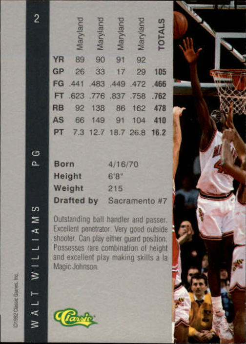 1992 Classic Four Sport #2 Walt Williams back image