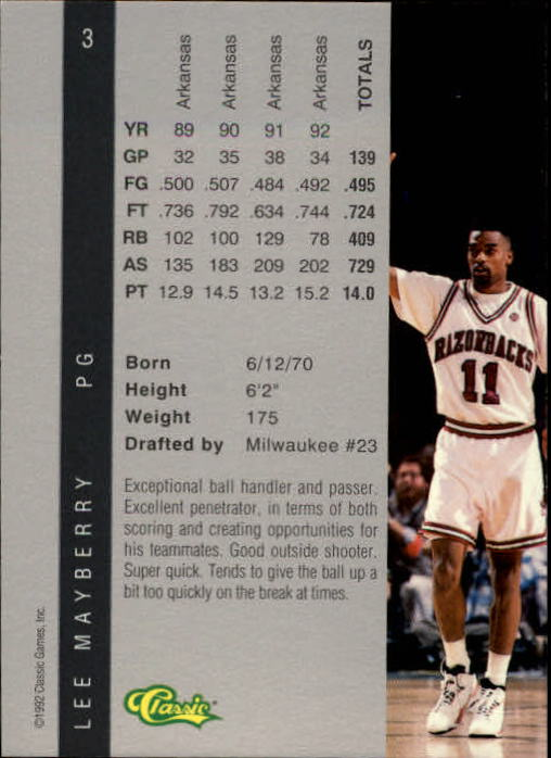 1992 Classic Four Sport #3 Lee Mayberry back image