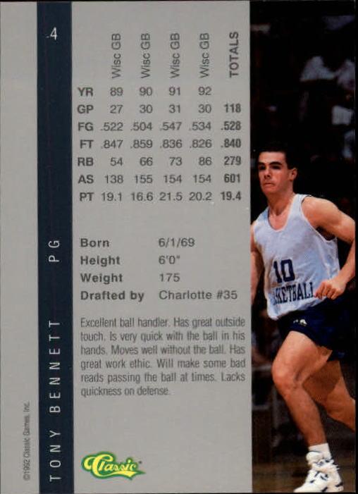 1992 Classic Four Sport #4 Tony Bennett back image