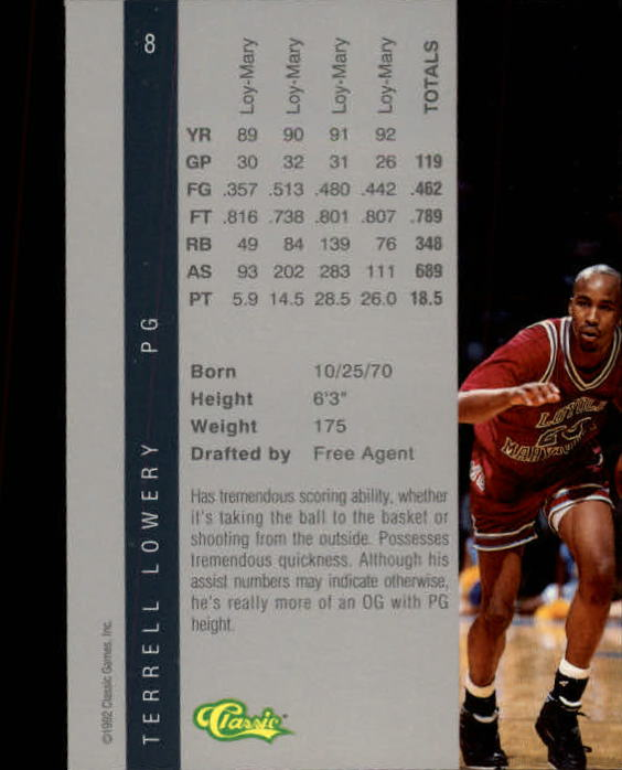 1992 Classic Four Sport #8 Terrell Lowery back image