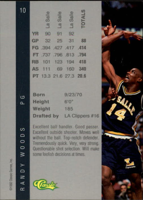 1992 Classic Four Sport #10 Randy Woods back image