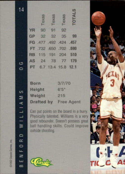1992 Classic Four Sport #14 Benford Williams back image