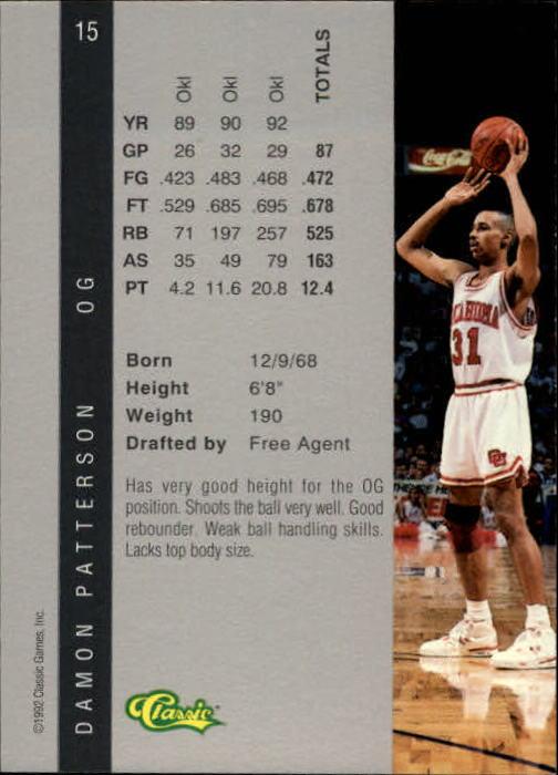 1992 Classic Four Sport #15 Damon Patterson back image