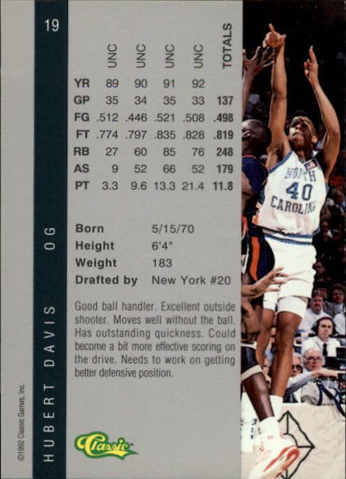 1992 Classic Four Sport #19 Hubert Davis back image