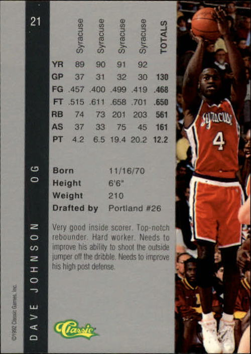 1992 Classic Four Sport #21 Dave Johnson back image
