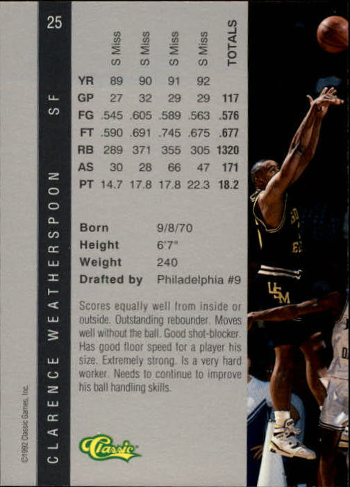 1992 Classic Four Sport #25 Clarence Weatherspoon back image