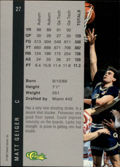 1992 Classic Four Sport #27 Matt Geiger back image