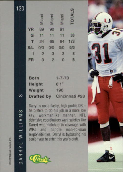 1992 Classic Four Sport #130 Darryl Williams back image