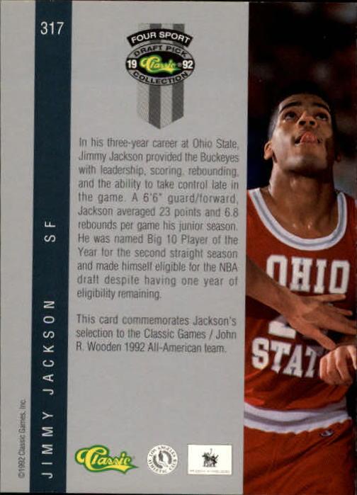 1992 Classic Four Sport #317 Jimmy Jackson JWA back image
