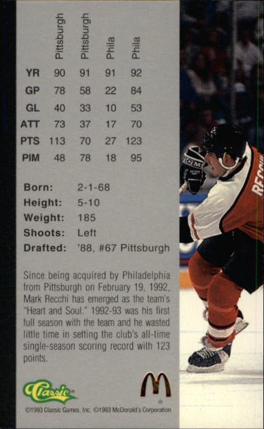 1993 Classic Four Sport McDonald's #16 Mark Recchi back image