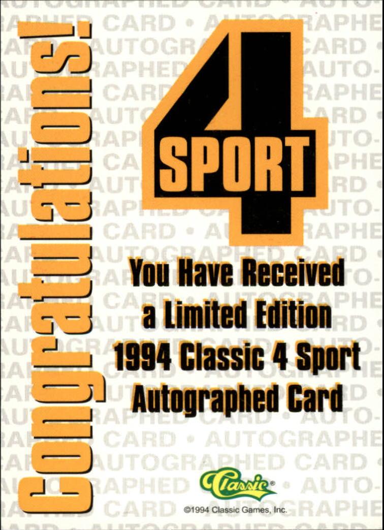 1994 Classic Four Sport Autographs #23A Wesley Person/1000 back image