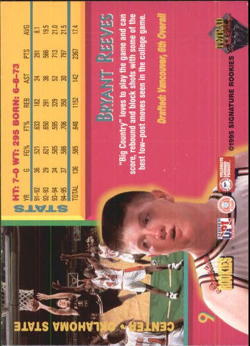 1995 Signature Rookies Tetrad Autobilia #9 Bryant Reeves back image
