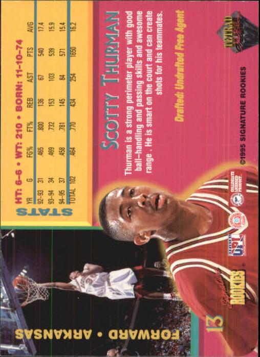 1995 Signature Rookies Tetrad Autobilia #13 Scotty Thurman back image