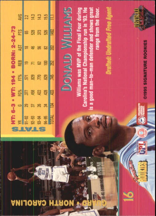 1995 Signature Rookies Tetrad Autobilia #16 Donald Williams back image