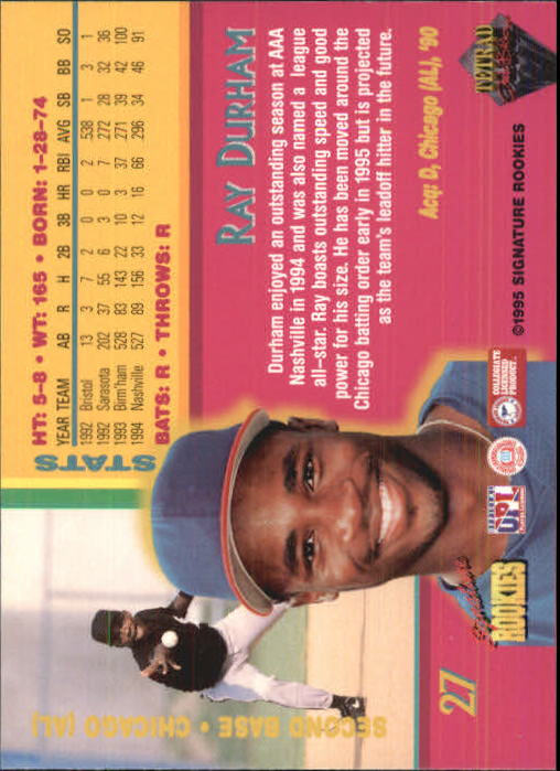 1995 Signature Rookies Tetrad Autobilia #27 Ray Durham back image