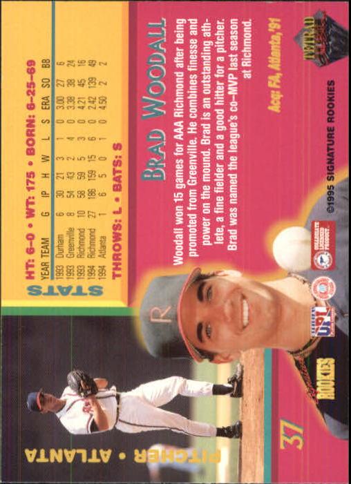 1995 Signature Rookies Tetrad Autobilia #37 Brad Woodall back image
