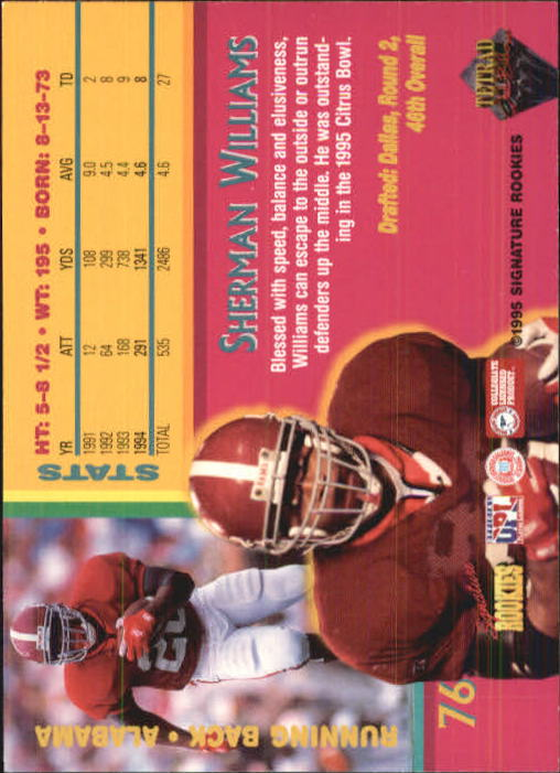 1995 Signature Rookies Tetrad Autobilia #76 Sherman Williams back image