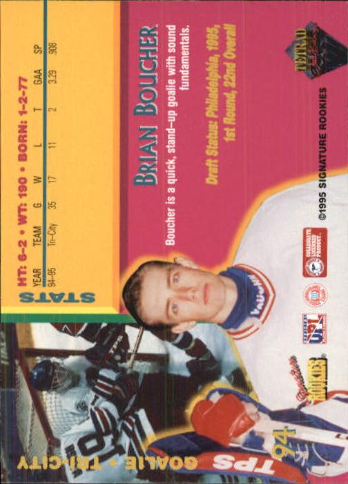 1995 Signature Rookies Tetrad Autobilia #94 Brian Boucher back image