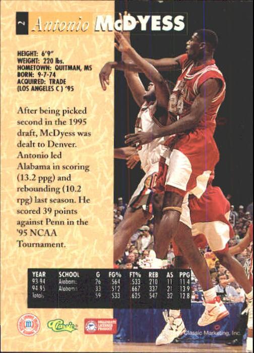 1995 Classic Five Sport #2 Antonio McDyess back image