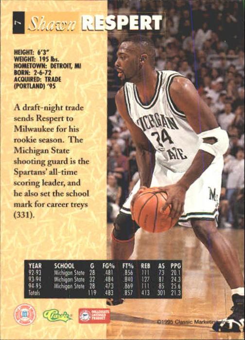 1995 Classic Five Sport #7 Shawn Respert back image