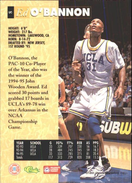 1995 Classic Five Sport #8 Ed O'Bannon back image