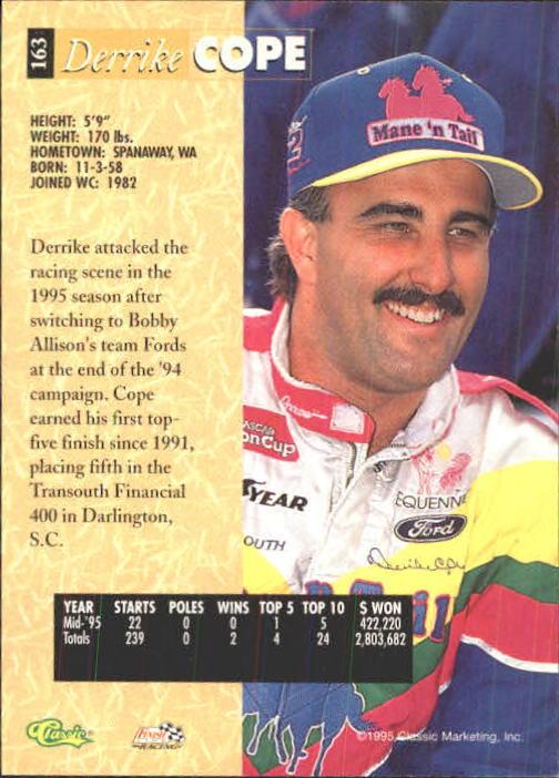 1995 Classic Five Sport #163 Derrike Cope back image
