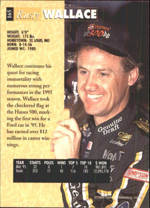 1995 Classic Five Sport #165 Rusty Wallace back image
