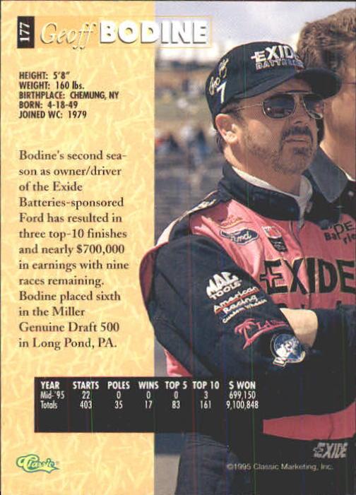 1995 Classic Five Sport #177 Geoff Bodine back image