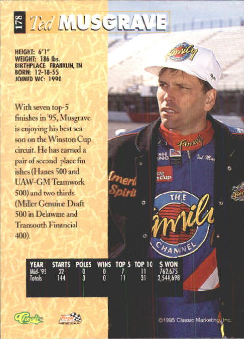 1995 Classic Five Sport #178 Ted Musgrave back image
