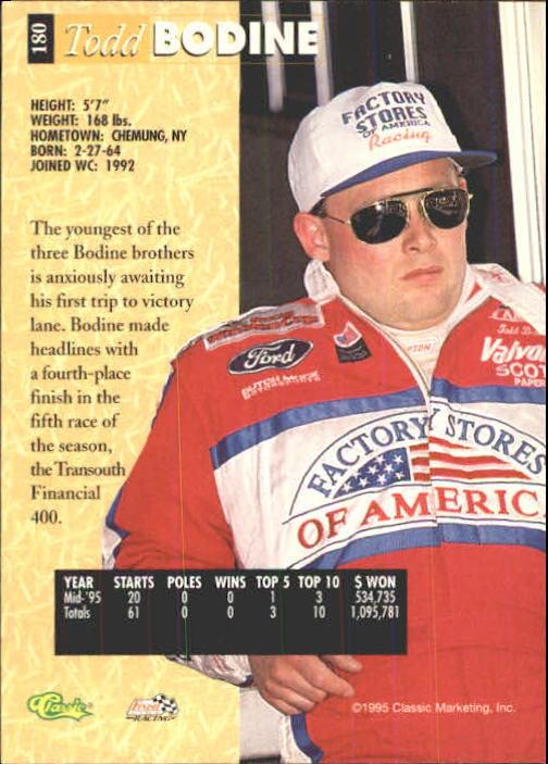 1995 Classic Five Sport #180 Todd Bodine back image