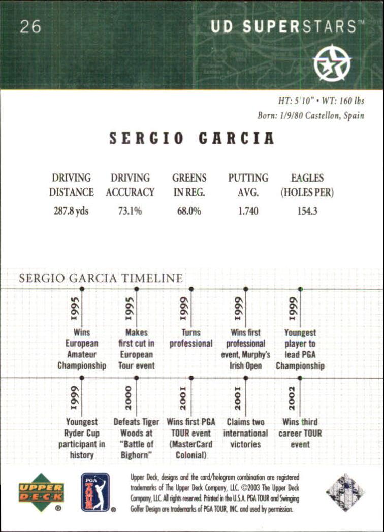 2002-03 UD SuperStars #26 Sergio Garcia back image